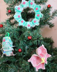 Recycled DIY egg carton Ornaments