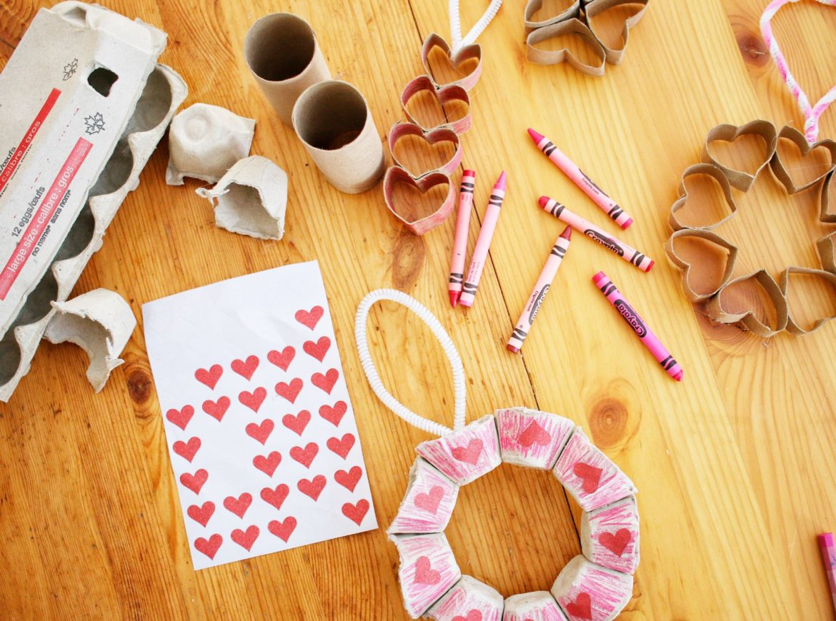 RECYCLED MATERIALS VALENTINE'S DAY CRAFTS